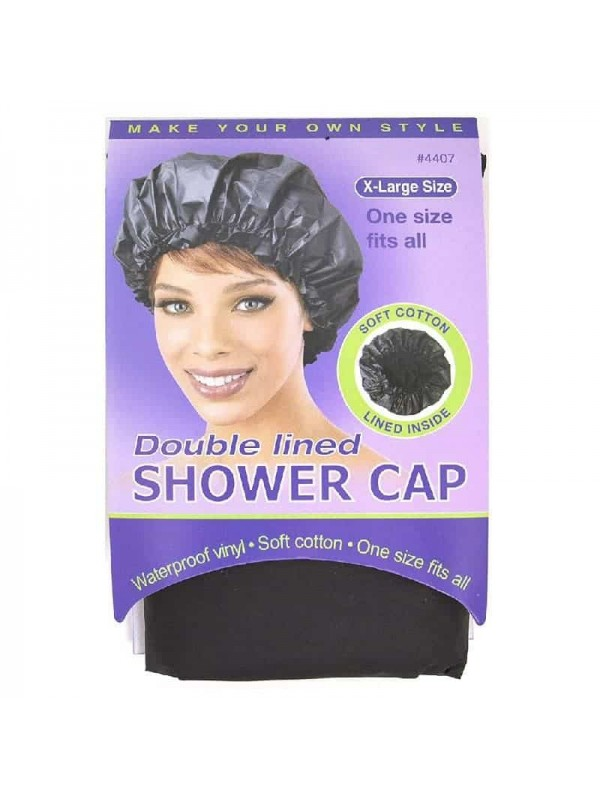 Double Lined Shower Cap Waterproof Black (4407) An...